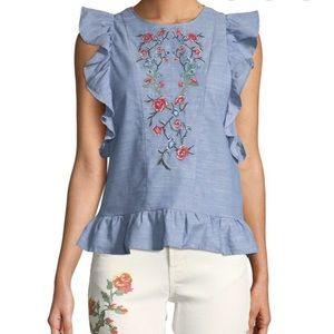 Dex Embroidered Chambray Top